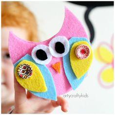 Arty Crafty Kids - Craft - Craft Ideas for Kids - No Sew Felt Owl Finger Puppets