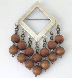 Aarikka wood and silver plated brooch by KoruJewelleryCo on Etsy
