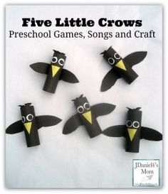 "Sing ""Five Little Crows"" song and create a fun crow craft."