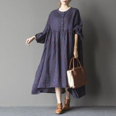 Women's long sleeve printing cotton linen dress