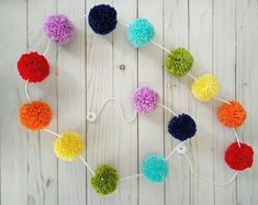 Curated Gifts They'll Keep Forever by YalisAndYabosCrochet on Etsy Party Garland, Pom Pom Garland, Tassel Garland, Pom Poms, Garlands, Crochet Wall Hangings, Yarn Wall Hanging, Rainbow Nursery, Rainbow Baby