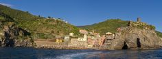 Vernazza (Italy) from the Sea -- A 3-shot panorama of the Cinque Terre village of Vernazza, as viewed from a departing coastal ferry boat.