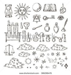 Set of trendy vector alchemy symbols collection isolated on white background. Hand drawn retro elements for design needs. Religion, philosophy, occultism, magic. Vintage vector illustrations. - stock vector