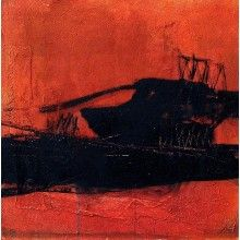 Abstrakte Kunst: Aufbau - oragnge/rot schwarzes Bild