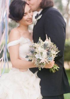 Bridal bouquet with thistles | Jada Poon Photography | see more on: http://burnettsboards.com/2014/05/dreamy-editorial-inspired-something-blue/