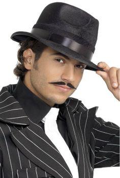 87aa7f91397 Black wide brim fashion dress felt fedora hat men (I love his moustache