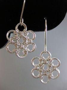 Japanese Flower Chain Maille Jewelry Pattern Earrings