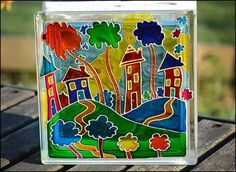 Articles similaires à Houses on the Hill Sun Catcher / Stained Glass Block Night Light / Multicoloured Village Garden Ornament / Window Decoration / Nursery Light sur Etsy Painting On Glass Windows, Glass Block Windows, Glass Painting Designs, Paint Designs, Window Glass, Faux Stained Glass, Stained Glass Windows, Painted Glass Blocks, Hand Painted