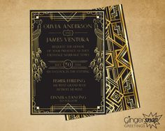 Art Deco Wedding Invitation. Great Gatsby by GingersnapGreetings
