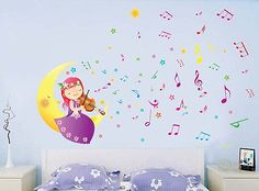 Wall Stickers Girl Play violin Baby Kids Room Wall Decals Music Child Xmas Gift $11.99
