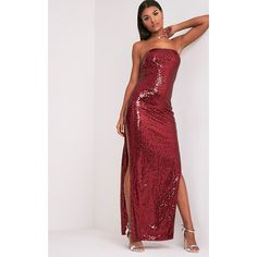 Kathie Burgundy Bandeau Sequin Maxi Dress ($25) ❤ liked on Polyvore featuring dresses, gowns, red, sequin party dresses, red sequin dress, red dress, red evening dresses and red gown