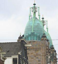 Copper roof of the theater Tuschinski, an Amsterdamse School, Jugendstil and Art Deco building, Reguliersbreestraat, Amsterdam Center