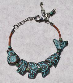 Turquoise Fun Fish Leather Coastal Bracelet w by SeaSideStrands