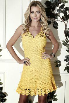 Vestido de crochê amarelo Cléa 5 - Gráfico e Passo a Passo - Toda Moderna
