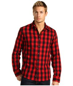 Michael Kors Tim Check Tailored Shirt Crimson - Zappos.com
