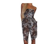 100% Silk Chiffon Animal Print Strapless Jumpsuit - The Safari Goddess
