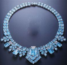 Cartier London Art Deco Aquamarine Necklace