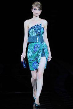 Giorgio Armani Spring 2010 Ready-to-Wear Fashion Show - Kim Noorda Armani Collection, Fashion Show, Fashion Design, Giorgio Armani, Ready To Wear, Strapless Dress, Runway, Vogue, Glamour