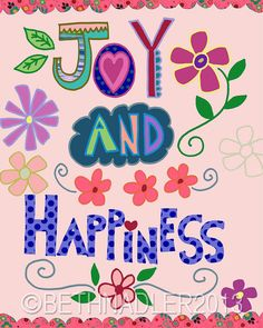 Joy and Happiness Art Print Wall Art by BethNadlerArt on Etsy, $15.00