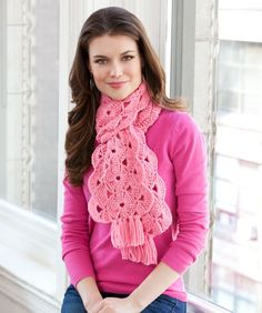 Red Heart® With Hope Scarf #crochet #pattern #breastcancerawareness