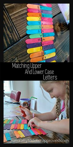 Upper and Lower Case Matching – Chronically Meg Matching Upper and Lower Case letter with colorful popsicle sticks! Toddler Learning Activities, Art Therapy Activities, Preschool Learning Activities, Preschool Lessons, Alphabet Activities, Toddler Preschool, Kids Learning, Preschool Alphabet, Preschool Schedule