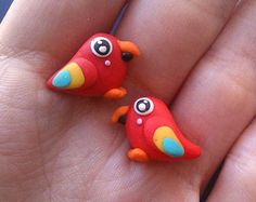 parrot stud earrings - polymer clay