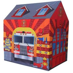 Fire Station Themed Childrens Play Tent Red Colour Indoor Outdoor Foldable Toy