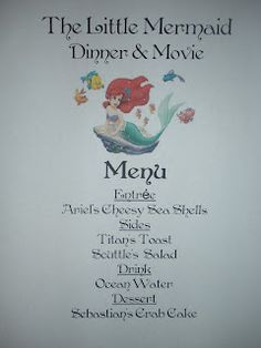 Disney Movie Nights - The Little Mermaid Would love to do something like this with our kids on movie night!