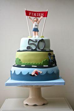 40th Cake, Dad Cake, 40th Birthday Cakes, 8th Birthday, Iron Man Kuchen, Running Cake, Ironman Cake, 50th Anniversary Cakes, Fondant