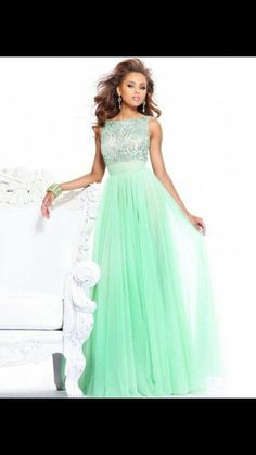 Jade blue gown with sequins