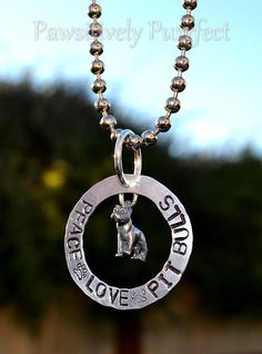 Peace Love Pit Bulls Handstamped Necklace by PawsitivelyPurrfect1, $25.00