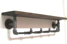 Tubería industrial Perchero con estante por IndustrialHomeBazaar