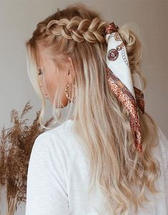 Awesome Braid Hairstyle with Scarf Look for 2019 Box Braids Hairstyles, Pretty Hairstyles, Hairstyles With Scarves, Cute Braided Hairstyles, Hairstyles 2016, Braids Long Hair, Bandana Hairstyles For Long Hair, Festival Hairstyles, Wedding Hairstyles