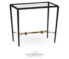 Bronze finish hammered iron rectangular side table #hpmkt #jcfurniture #jonathancharles #Furniture #InteriorDesign #decorex #StilettoCollection