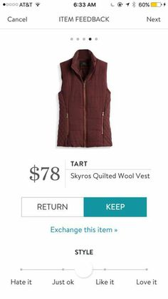 Tart Skyros Quilted Wool Vest. I love Stitch Fix! A personalized styling service and it's amazing!! Simply fill out a style profile with sizing and preferences. Then your very own stylist selects 5 pieces to send to you to try out at home. Keep what you love and return what you don't. Only a $20 fee which is also applied to anything you keep. Plus, if you keep all 5 pieces you get 25% off! Free shipping both ways. Schedule your first fix using the link below! #stitchfix @stitchfix. Stitchfix…