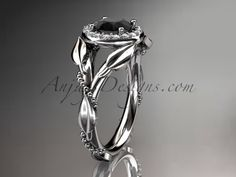 Platinum diamond leaf and vine wedding ring,engagement ring with a Black Diamond center stone ADLR328