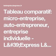 Tableau comparatif: micro-entreprise, auto-entrepreneur, entreprise individuelle - L'Express L'Entreprise