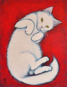 White Cat original oil painting. Bunny Paws by heidishaulis