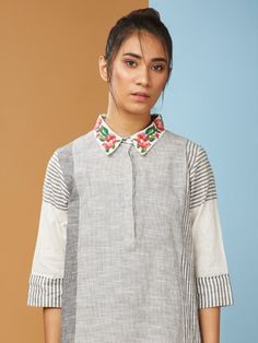 2431be5baa Buy Grey Cotton Embroidered High Low Dress online at Theloom Cotton Dresses,  High Low,