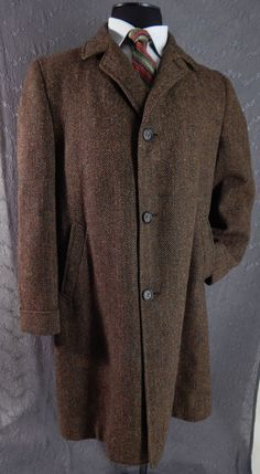 Vintage 1960's Mens Herringbone Tweed Coat Brown. Large XL