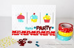 """Washi tape and bling """"Let's Party"""" card by Ginger Williams for Queen and Company"""