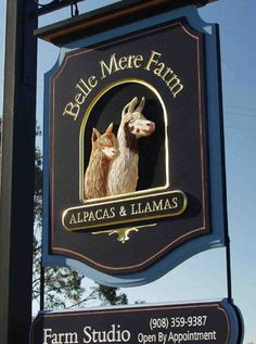Belle Mere Farm Sign - gilded letters & hand-sculpted alpaca heads. See more of our work on www.danthoniadesigns.com Farm Signs, Pub Signs, Alpacas, Carved Wood Signs, Wooden Signs, Driveway Sign, Door Signage, Commercial Signs, Cafe Sign