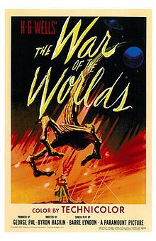 War of the Worlds ( promotionally as H. G. Wells' The War of the Worlds) is a 1953 sci-fi film stars Gene Barry & Ann Robinson. Loose adaptation of the H. G. Wells classic novel of the and 1st of a number of film adaptations based on Wells' novel. Produced by George Pal, directed by Byron Haski. First of 2 adapts of Wells' work filmed by Pal, is considered to be 1 of the great sci-fi films of the 1950s.  Won Oscar for  special effects, included National Film Registry of Library of Congress.