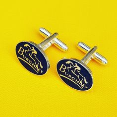 Silver plated cufflinks on base metal with torpedo fixings. Personalised Badges, Custom Coins, Charity, Silver Plate, Cufflinks, Enamel, Jewelry Making, Base, Metal