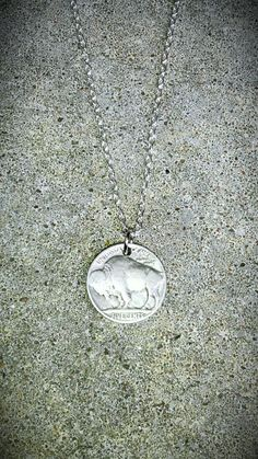Vintage NECKLACE Buffalo Bison Indian Nickel antique by bleustuff1, $6.99