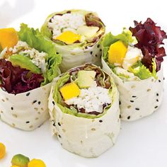 Crab Salad Rolls with Ginger-Plum Sauce This tropical twist on sushi will please everyone, especially those who shun raw seafood. This version uses crabmeat, avocado, and mango for a light and easy APP. Only you will know just how easy it was to prepare this spectacular starter. Crab Recipes, Asian Recipes, Appetizer Recipes, Appetizers, Ethnic Recipes, Sushi Recipes, Coleslaw Recipes, Sauce Recipes, Seafood