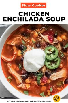 Slow Cooker Chicken Enchilada Soup is so easy to make and it's perfect for meal prep too! Full of hearty and nutritious ingredients, this Mexican comfort food dish is great for chilly days. #chickensoup #slowcookersoup #mexcian #enchiladasoup Slow Cooker Soup, Slow Cooker Chicken, Slow Cooker Recipes, Crockpot Recipes, Healthy Recipes, Chicken Recipes Video, Chicken Soup Recipes, Chicken Soups, Chicken Enchilada Soup