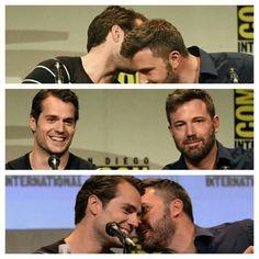 Ben Affleck and Henry cavill comic con 2015 batman vs superman 2016