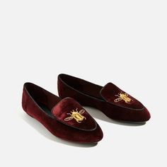 FLAT VELVET SHOES WITH EMBROIDERY DETAIL-Flats-SHOES-WOMAN | ZARA United States
