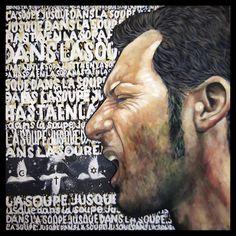 Hasta en la sopa: Las religiones. 2015. huile sur toile. 100 x 100 cm